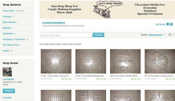 Our Etsy.com shop features more than 100 different molds that can be shipped anywhere in the United States and Canada.